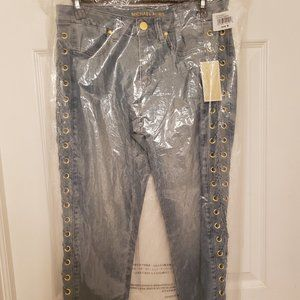 MICHAEL KORS VINTAGE CRISSCROSS WASHED LACED JEANS